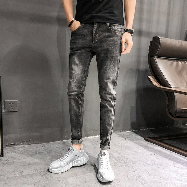 High Quality Elastic Slim Fit Denim Jeans Men Brand New 2019 Streetwear Men's Jeans Casual All Match Simple Trousers Men