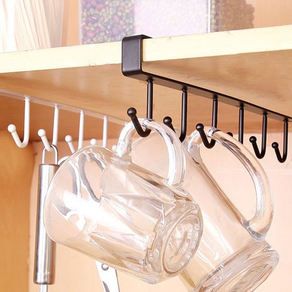 2019 Enipate 6 Hooks Cup Holder Hang Kitchen Cabinet Under Shelf Storage  Rack Organiser Iron Multifunction Kitchenware Shelf Cabinets From  Sasa431399, ...