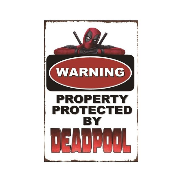 Warning Deadpool Vintage Metal Tin sign poster for Man Cave Garage shabby chic wall sticker Cafe Bar home decor