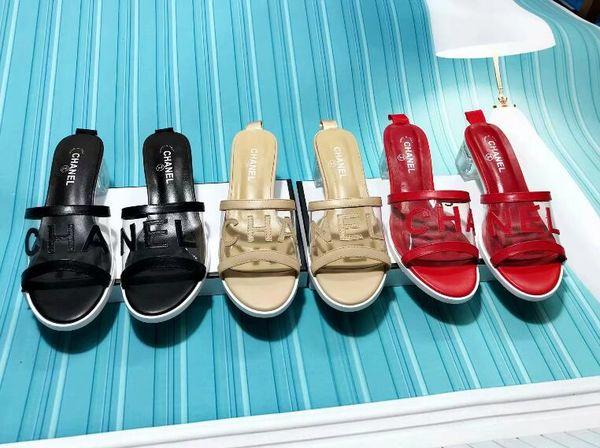 Sandali con zeppa da donna firmati 2019 Sandali di design scivoli pantofole da donna Sandali gladiatore di alta qualità Pantofole da donna in pelle con la scatola