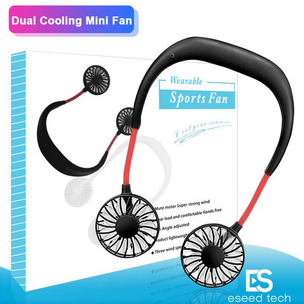 2019 Portátil USB Recarregável Neckband Preguiçoso Pescoço Pendurado Dual Cooling Mini Ventilador esporte 360 graus rotativo pendurado ventilador do pescoço