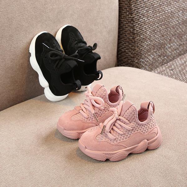 Chaussures pour enfants 2019 Printemps Nouvelle fille coréenne en daim véritable à semelle souple en cuir véritable Chaussures garçons Baskets en tissu Net 1-3 ans