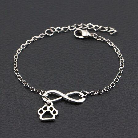 2019 nuovo cane zampa stampe braccialetto infinito argento antico animale fai da te fatti a mano braccialetto donne gioielli di moda