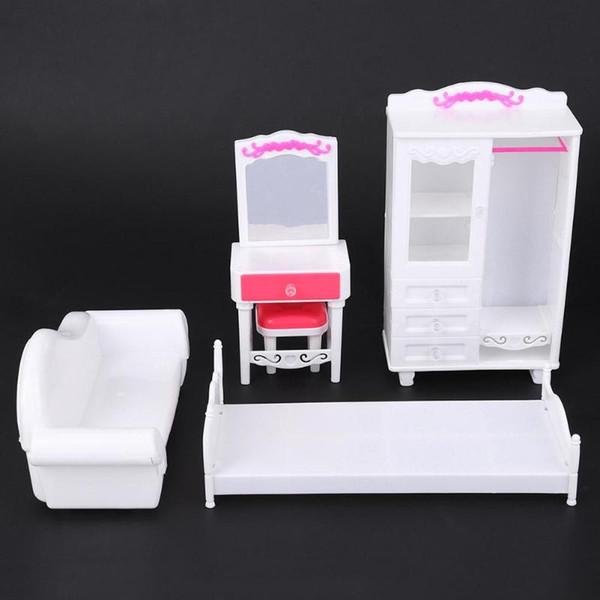 Günstige Spielzeug Miniatur Kunststoff Schlafzimmer Möbel Spielzeug Set Mädchen Kinder Spielhaus Puppenhaus Schlafzimmer Möbel Puppe Zubehör
