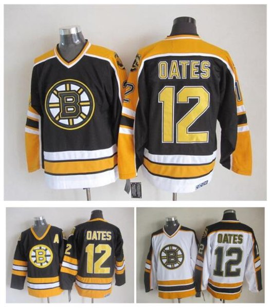 Top Quality ! Men Boston Bruins Ice Hockey Jerseys 12 Adam Oates Black White Yellow Retro Vintage CCM Stitched Jerseys Mix Order !