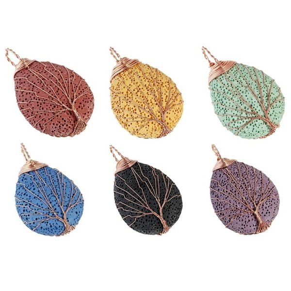 Good Plating Teardrop Lava Rock Pendant Metal Wire Wrapped Life Tree Colorful Volcanic Pendant With Brass Chain Necklace For Women
