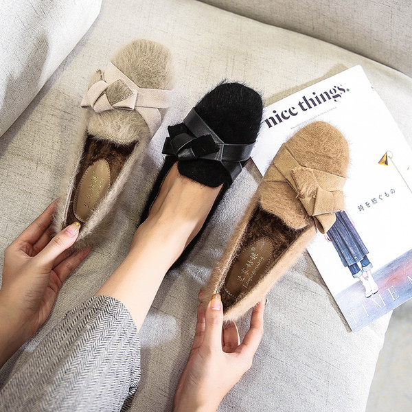 loafers woman large size women women's casual shoes flats square toe bow-knot slip-on big size dress fur butterfly moccasin