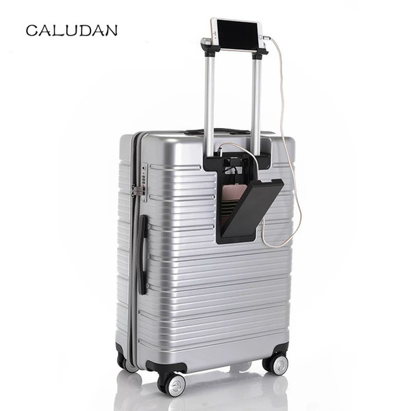 """Chargable Rolling Travel Luggage Bag,Wheel Suitcases With charging treasure,Women New Carry-On,Men 20""""24"""" Box, PC Trolley Case"""