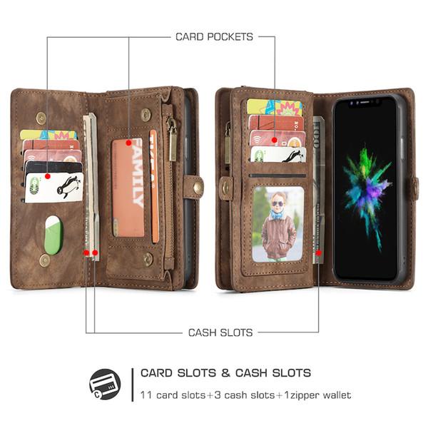 Genuine Leather Designer Wallet Case for IPhone XR XS MAX 6S 6 7 8 Plus Magnetic Detachabel Case 7 Card Slots 2 in 1 Folio Flip Wallet Case