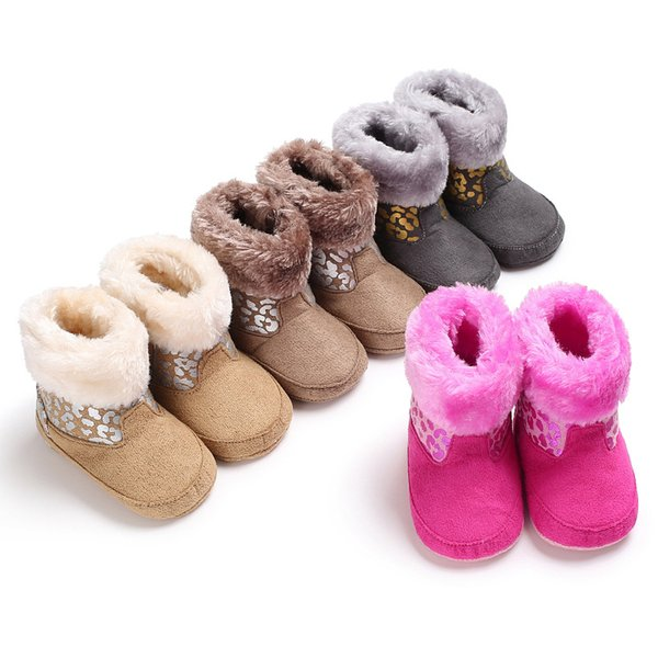 Winter 0-1 years old gold and silver leopard baby plus velvet warm soft bottom non-slip baby toddler shoes