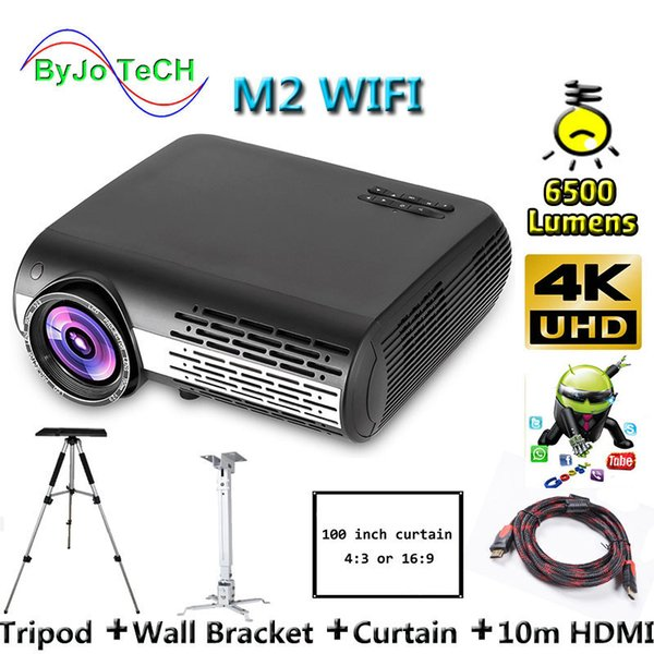 top popular Poner Saund M2 WIFI LED projector 6500 Lumens 4K 2K FULL HD Android 6.0 Support Wireless screen interaction 100 inch Screen 2019