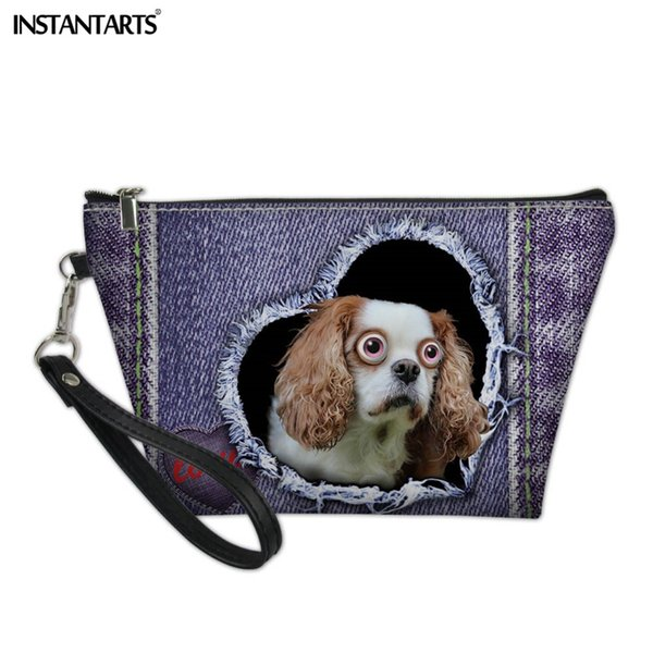 INSTANTARTS Kawaii 3D Denim Animal Prints Women Cosmetic Bag Daily Use Portable Pouch Bag Girls Women Make Up Organizer Cases