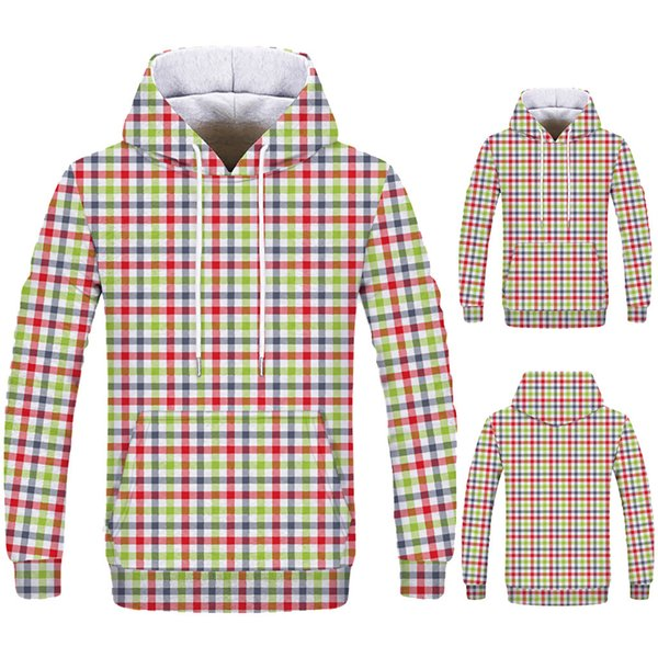 New Simple Fashion Loves' Casual Autumn Winter Plaid Printing Long Sleeve Hoodies Sweatshirt sudaderas para hombre
