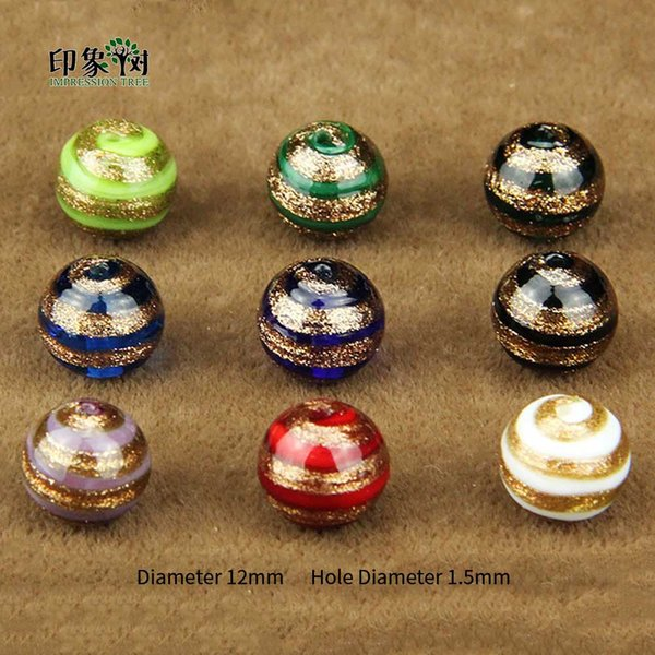 12mm Handmade Lampwork Gold Sand Wrap Loose Spacer Color Stripe Surface Glass Beads Multi Color For Jewelry Making 1637