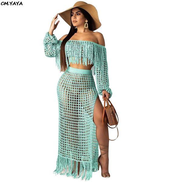 Women Summer Beach Grid Bohemian Off Shoulder Tassel Splicing Top Side Split Maxi Skirt Suit Two Piece Set Dress 4 Color S3554 Y19062601