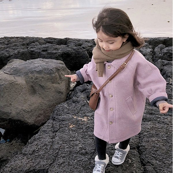 WLG wooll coat for girls winter kids turn down collar long sleeve thick clothes baby long style yellow pink jackets children 3-7