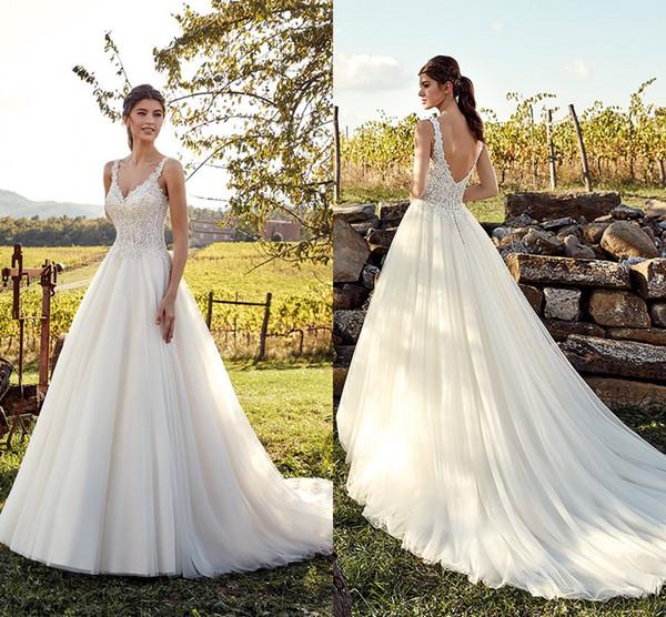 Discount Western Modest Sexy Country Style Wedding Dresses Lace Spaghetti Straps Long Bohemian Bridal Gowns Plus Size Robe De Mariee En Dentelle