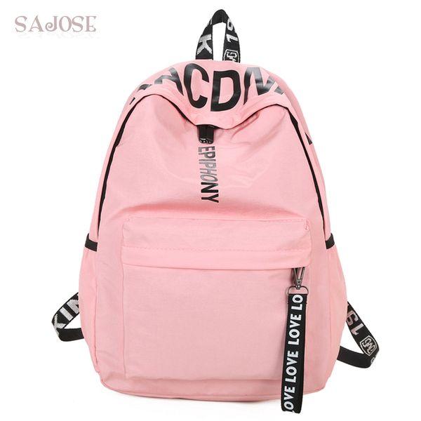 Women Canvas Backpack For School Teenagers Girls Casual Shoulder Bags Ladies Pink Letter Backpack Female Bookbag Student Bag