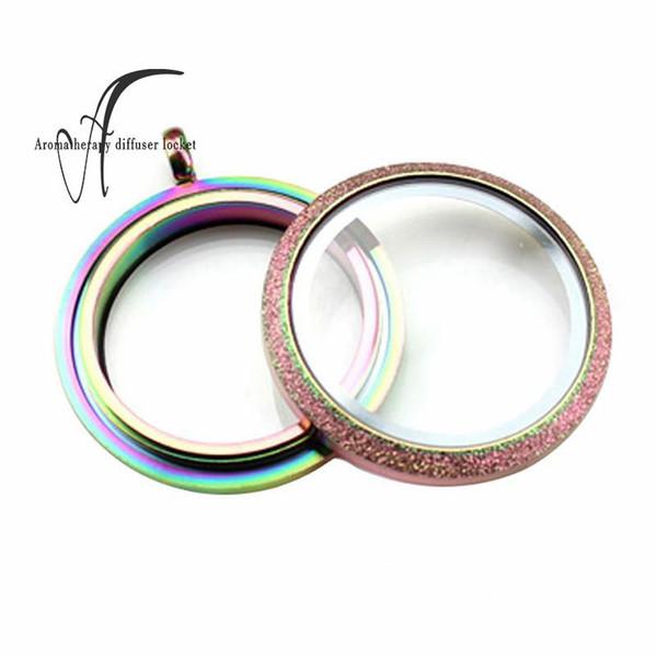 30 mm rodada arco-íris fosco espumante top de aço inoxidável medalhões de vidro flutuante vivendo medalhão flutuante charme pingentes