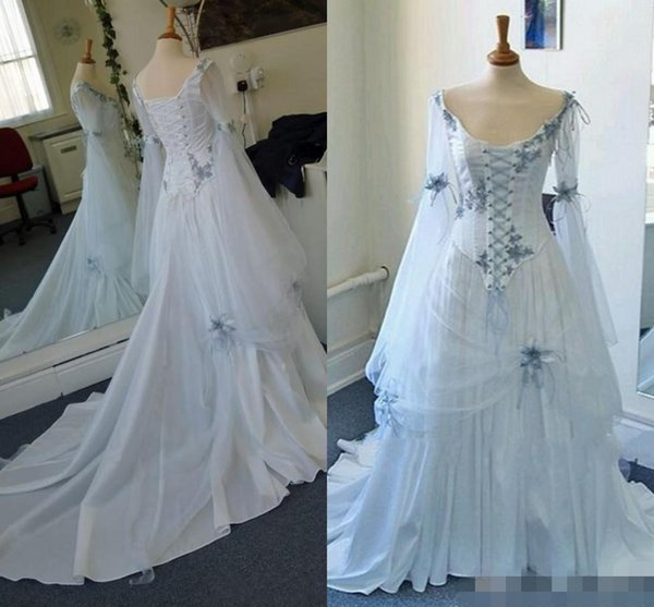 Vintage Celtic Wedding Dresses White And Pale Blue Colorful Medieval Bridal Gowns Scoop Neckline Corset Long Bell Sleeves Appliques Flowers