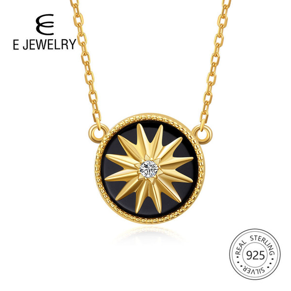 E Jewelry 925 Sterling Silver Pendant Necklace For Women Exquisite Round Black Star Gold Plated Chain Necklaces Long Maxi Choker Y19051602