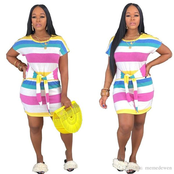 Colorful Striped Sexy Bodycon Dress For Women Round Neck Short Sleeve T Shirt Dress Summer Ladies High Waist Plus Size Dresses N19.6-1959