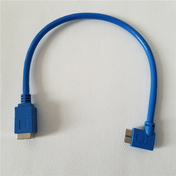90 Degree Left Angle Micro USB3.0 B Male to Printer Port USB 3.0 B Female M/F Adapter Jack Data Cable Cord Blue 30cm