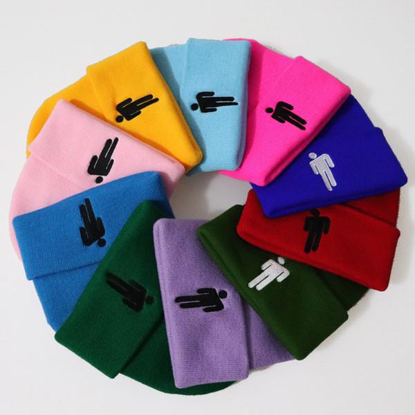 Diseñador de gorritas tejidas Sombreros Billie Eilish gorros Acrílico de punto Sombrero de invierno Adultos Para hombre Para Mujer Skull Headwear 16 colores Soild