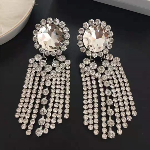Large Size Women Earrings White Gold Plated Rhinstone Crystal Tassels Earrings Clips for Girls Women for Party Wedding