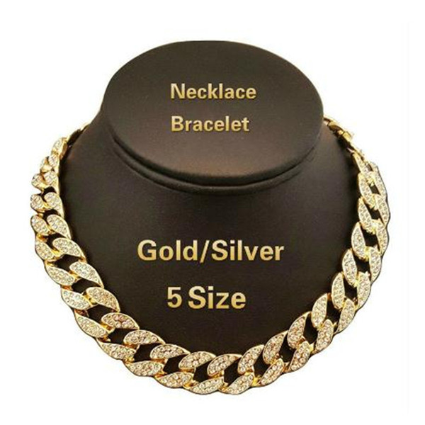Iced Out Bling Rhinestone Crystal Gold Finish Miami Cuban Link Chain Men's Hip Hop Necklace Jewelry 18,20, 24, 30 Inch
