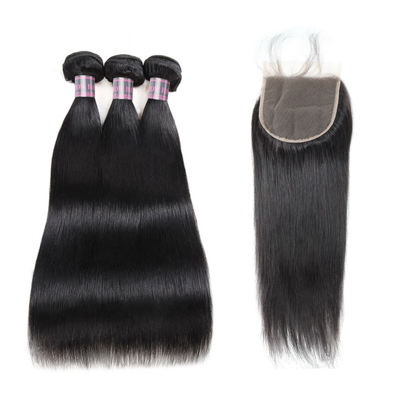 3PCS brésilien avec 5x5 dentelle fermeture Indian droit humain Bundles cheveux avec fermeture 30 pouces Faisceaux péruvienne Virgin humaine Extensions de cheveux