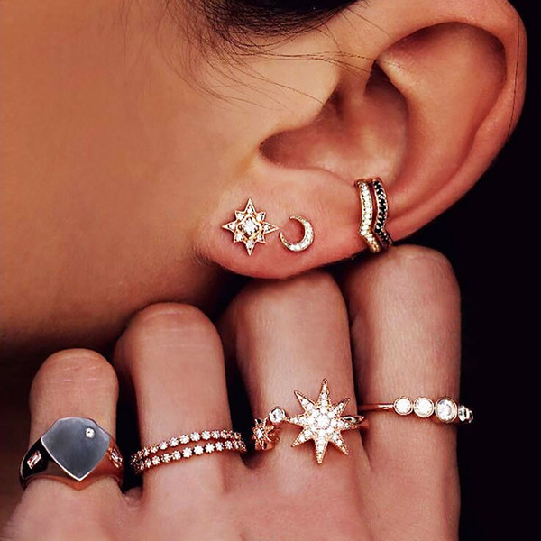 9 Pcs Women Earrings Rings Set Bohemia Style Sun Moon Shape Lady Luxury Jewelry M8694