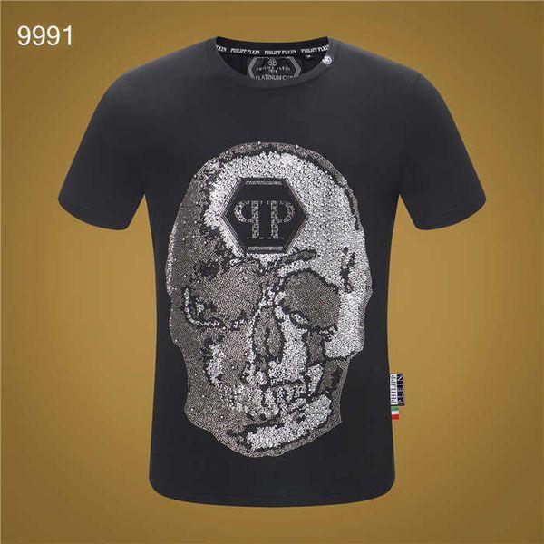 2019 New Fashion Summer 3d Skull Printed Phillip Plain T Shirt Man Hip Hop O Neck Short Sleeved T-shirt Men PP Diamond Shirt Top 052