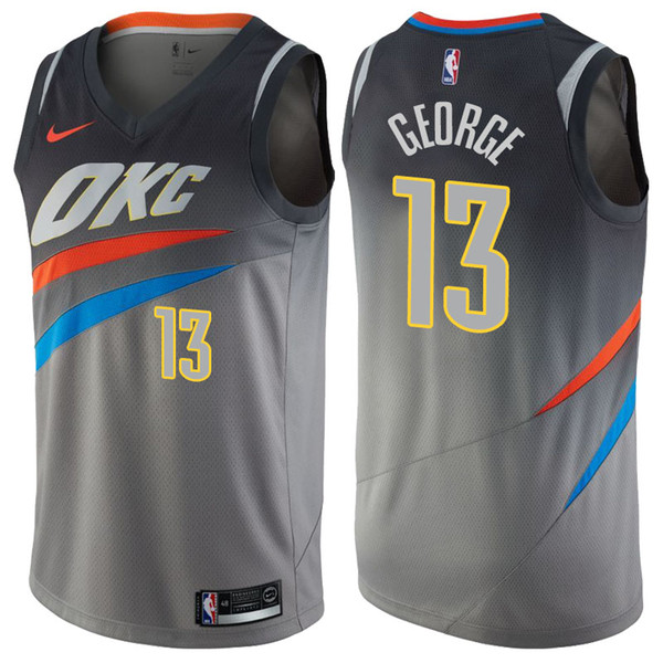 premium selection 0cf92 a5a80 2019 Mens Oklahoma City 13 George Thunder Basketball Jerseys New The City  Edition Thunder George PG13 Jerseys Stitched White Blue Green Shirts For ...