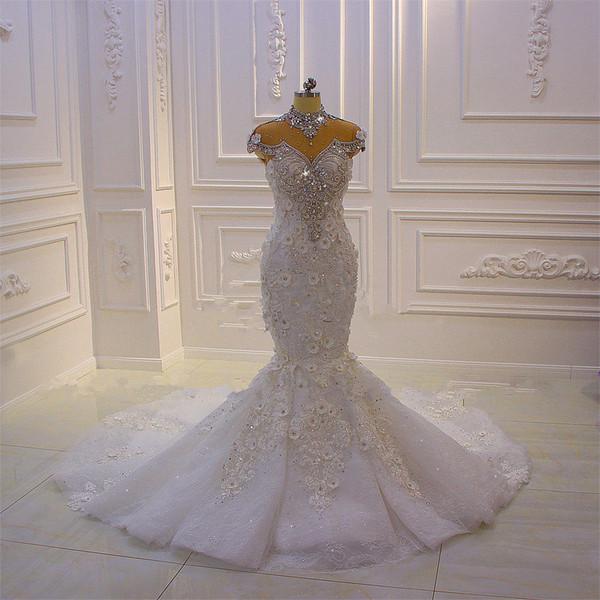 Luxury High Neck Crystal Beaded Mermaid Wedding Dress Vintage