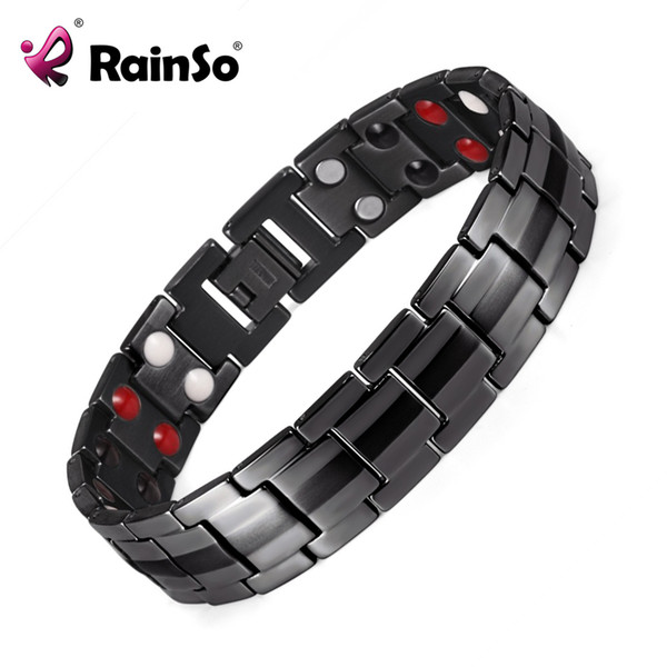 Rainso Erkekler Paslanmaz Çelik Çift Sıra FIR, Negatif iyon, Germanyum ve Manyetik Elemanları Siyah Bileklik Bio Bilezik OSB-1537BK