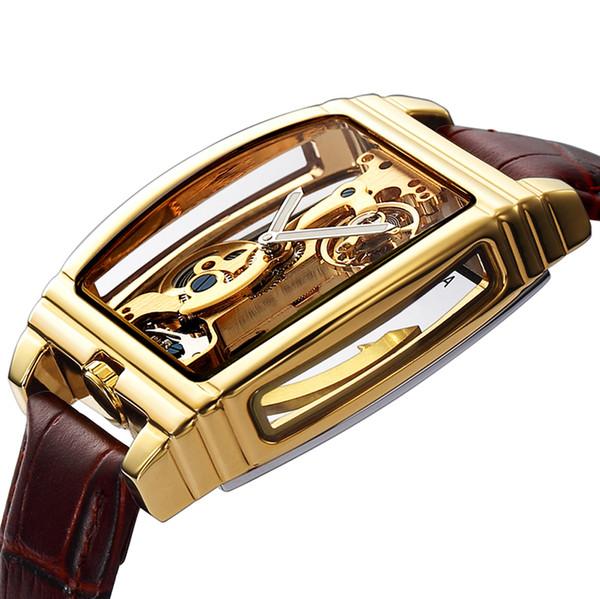 Transparent Automatic Mechanical Watch Men Steampunk Skeleton Luxury Gear Self Winding Leather Men's Clock Watches montre
