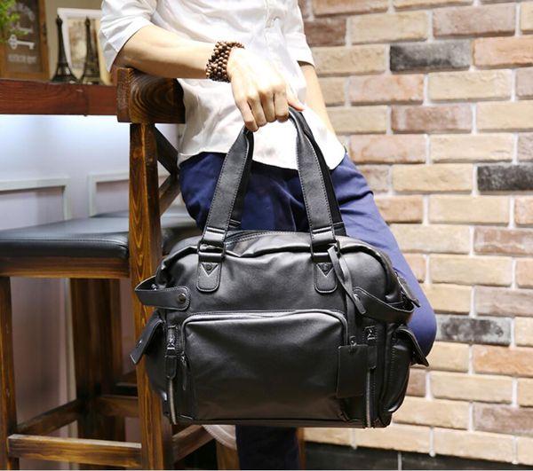 56a0ccf9435a Men'S Bag Casual Shoulder Bag Messenger Handbag Men'S PU Leather Business  Travel Large Capacity Briefcase Mens Satchels Leather Travel Bags From ...