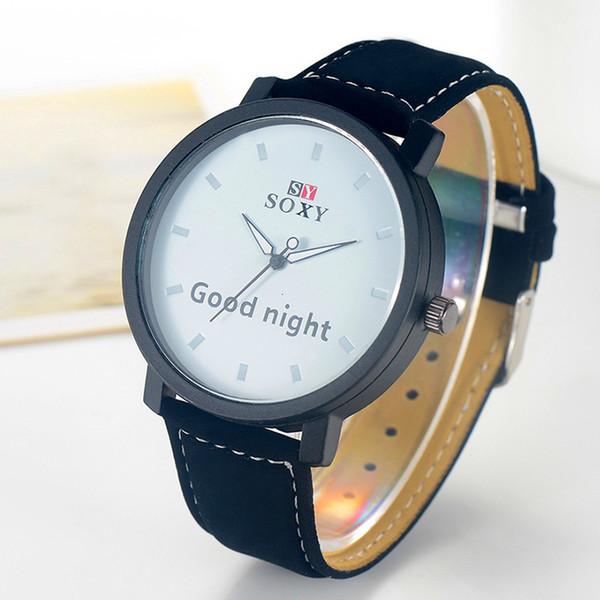 SOXY кожа часы Мужская мода кварцевые часы Мужчины Printed «СПОКОЙНОЙ НОЧИ» Часы Круглый циферблат Часы наручные Мужчина для