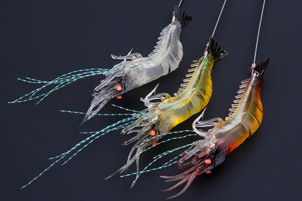 90mm 7g Soft Simulation Prawn Shrimp Fishing Floating Shaped Lure Hook Bait Bionic New Artificial Shrimp Lures with Hook