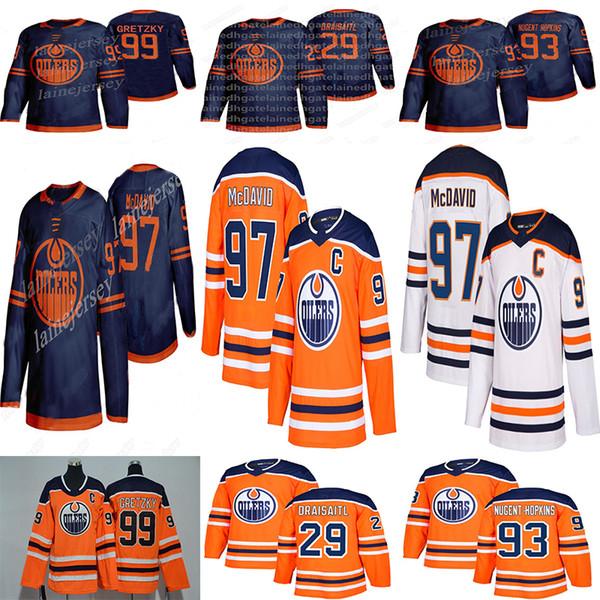 best selling Edmonton Oilers 2019-2020 Third Jersey 97 Connor McDavid 99 Wayne Gretzky 29 Leon Draisaitl 93 Ryan Nugent-Hopkins Hockey Jerseys