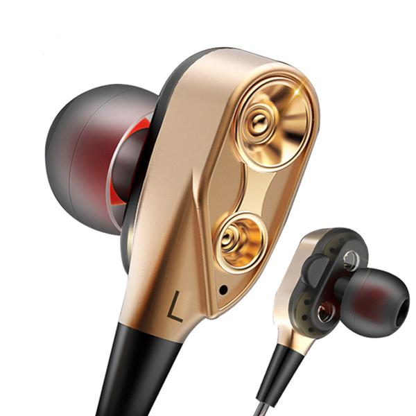 Doble bobina móvil audífonos con cable audífonos en la oreja Deportes juegos de música MP3 3.5mm, auriculares universales para teléfonos Android para ipone 5 6 6S 7 7S