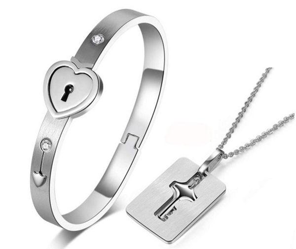 Square /Shield Concentric Lock Couple Bracelet Necklace Love Key Titanium Steel Pendant Necklace Bracelet Diamond Set for Men Couples