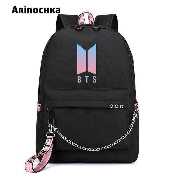 top popular Korean Fashion Bts Bangtan Boys Letter Backpack Love Yourself Usb Charging Travel Bag For Teenager Girls Ribbon Chains Schoolbag Q190416 2021