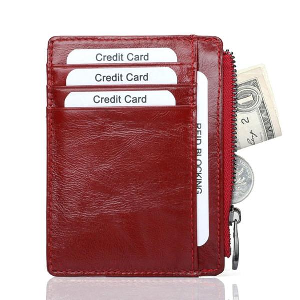 Echtes Leder Rf * id Männer-Kartenhalter-Mappen Reißverschluss Münzfach Male Purse Female Damen Kleine Geldbörse