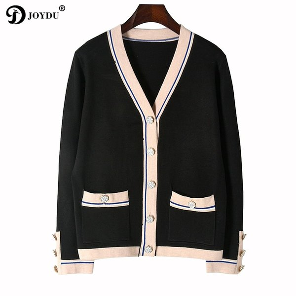 JOYDU Cardigan Female 2017 Winter Knit Sweater Women Luxury Design Flower Button Color Block V neck Casual Knitwear Coat Jumper