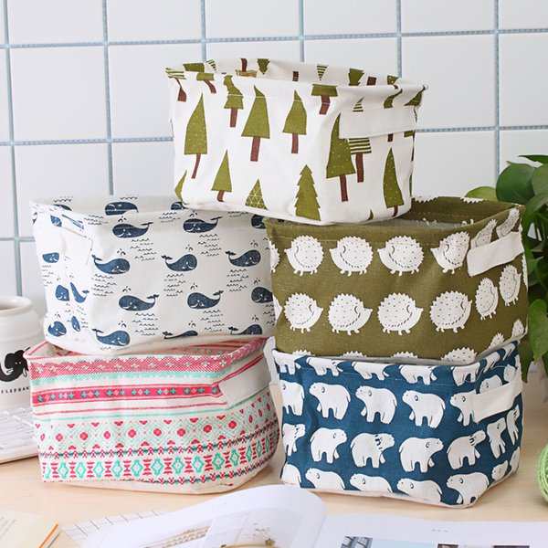 5styles Dobrável Mesa De Armazenamento De Mesa Organizador Gabinete Underwear Titular Cosméticos Papelaria Floral Pastoral Animal Washing Organizador FFA1931