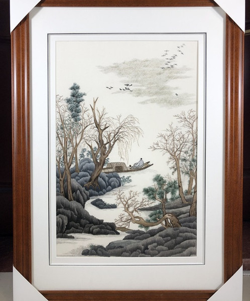 Handmade Art Crafts 100% Mulberry Silk Thread Finished Suzhou Embroidery not include frame ,home decor Landscape painting ,40*60cm