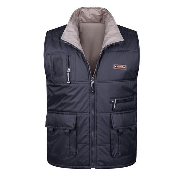 Men thick Vest warm Spring Autumn Male Waistcoat Casual Multi Pocket Photographer Sleeveless Baggy Jacket Mens Vest