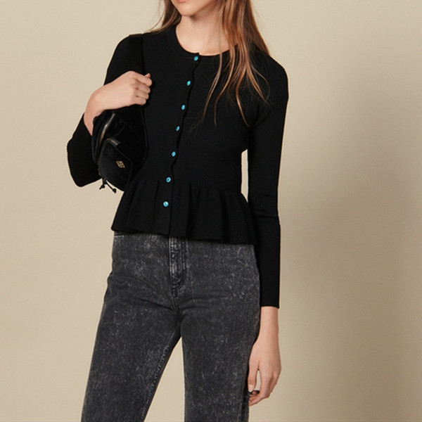 Cardigan women 2019 New Knitted Sweater Long Sleeve Ruffle Hem Cardigan sweater Coat